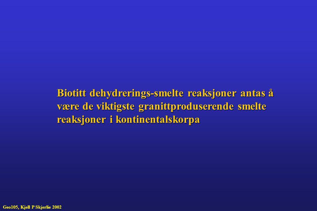 Biotitt dehydrerings-smelte reaksjoner antas å