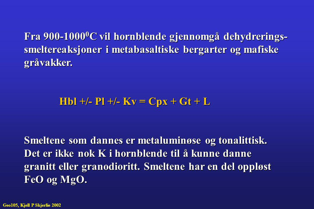 Fra 900-10000C vil hornblende gjennomgå dehydrerings-