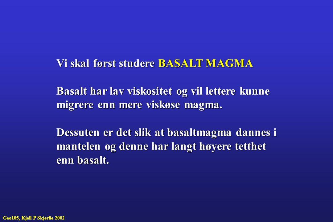 Vi skal først studere BASALT MAGMA
