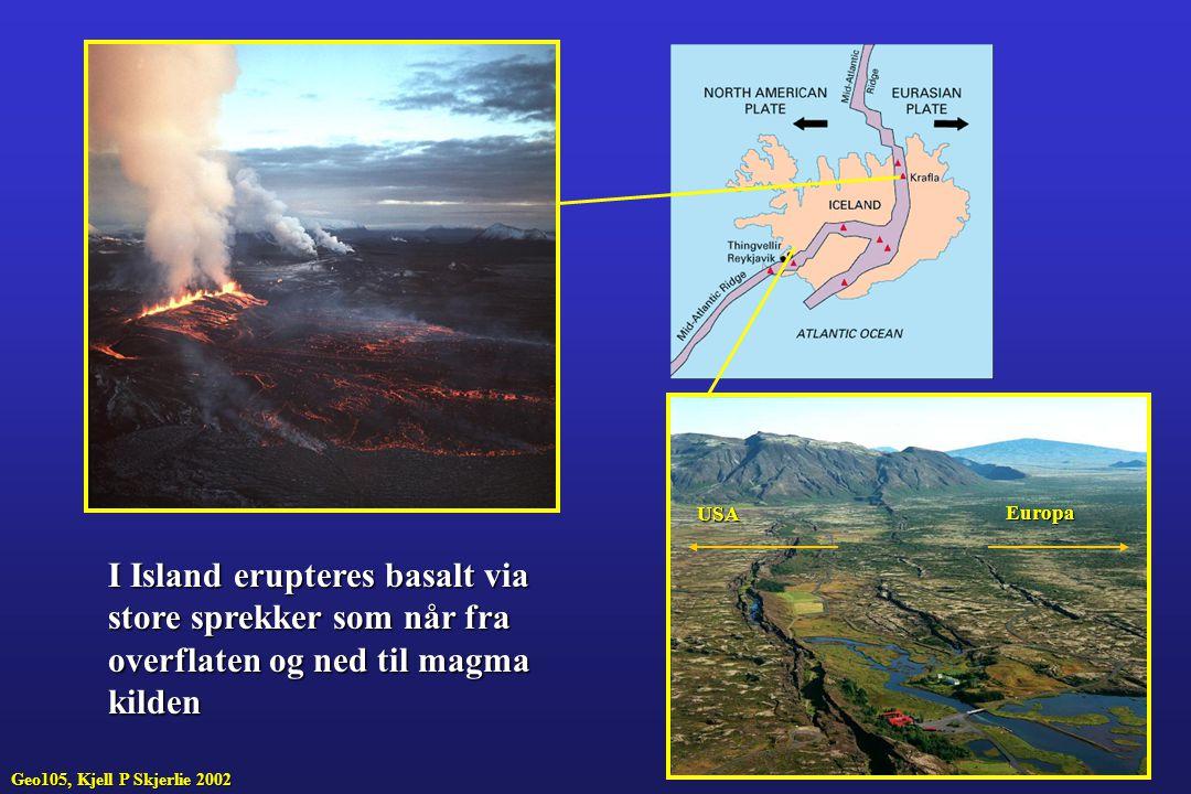 I Island erupteres basalt via store sprekker som når fra