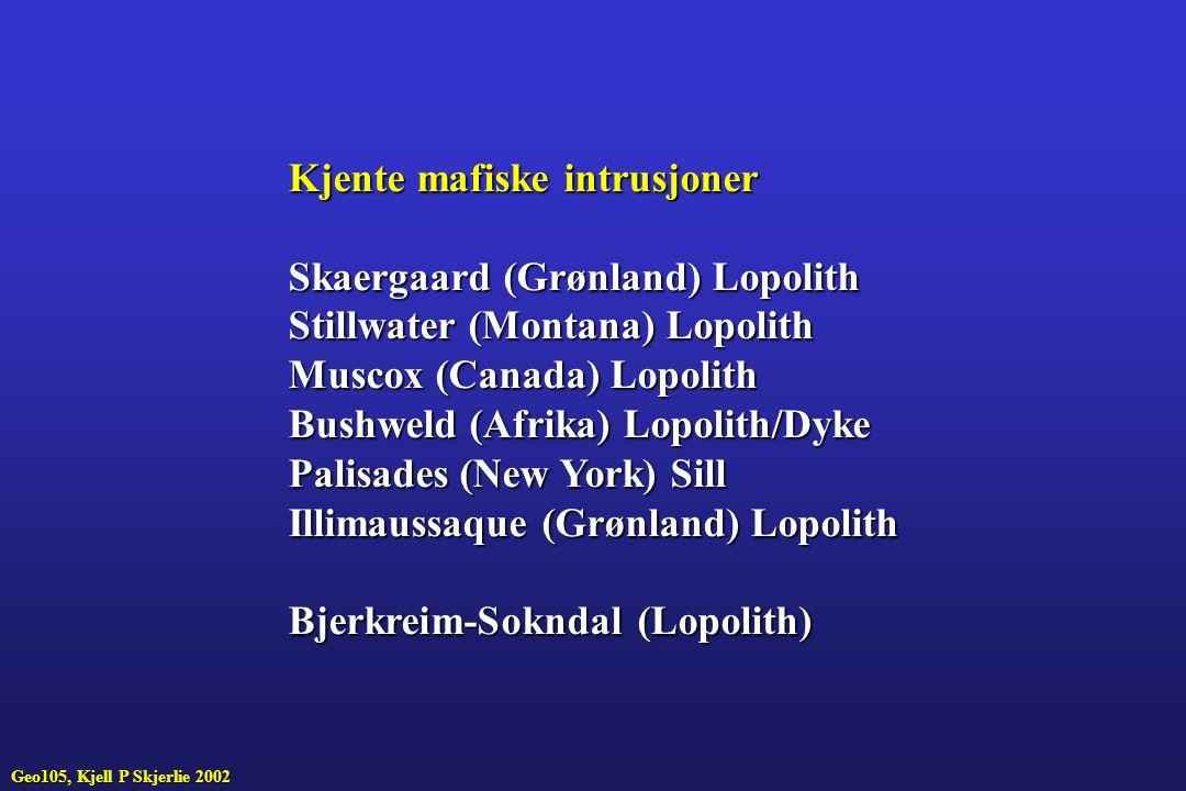 Kjente mafiske intrusjoner Skaergaard (Grønland) Lopolith