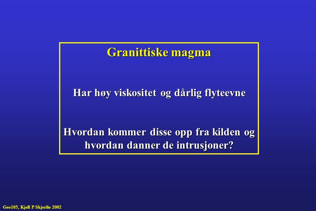 Granittiske magma Har høy viskositet og dårlig flyteevne
