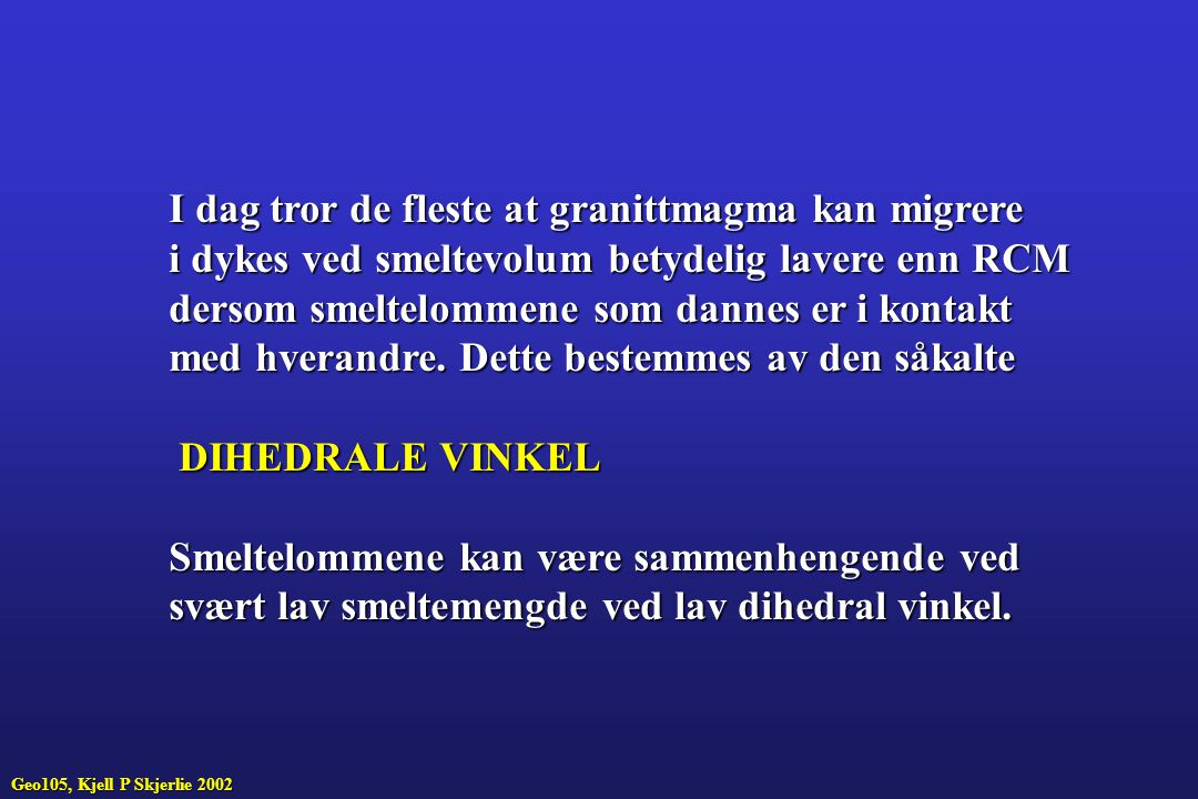 I dag tror de fleste at granittmagma kan migrere