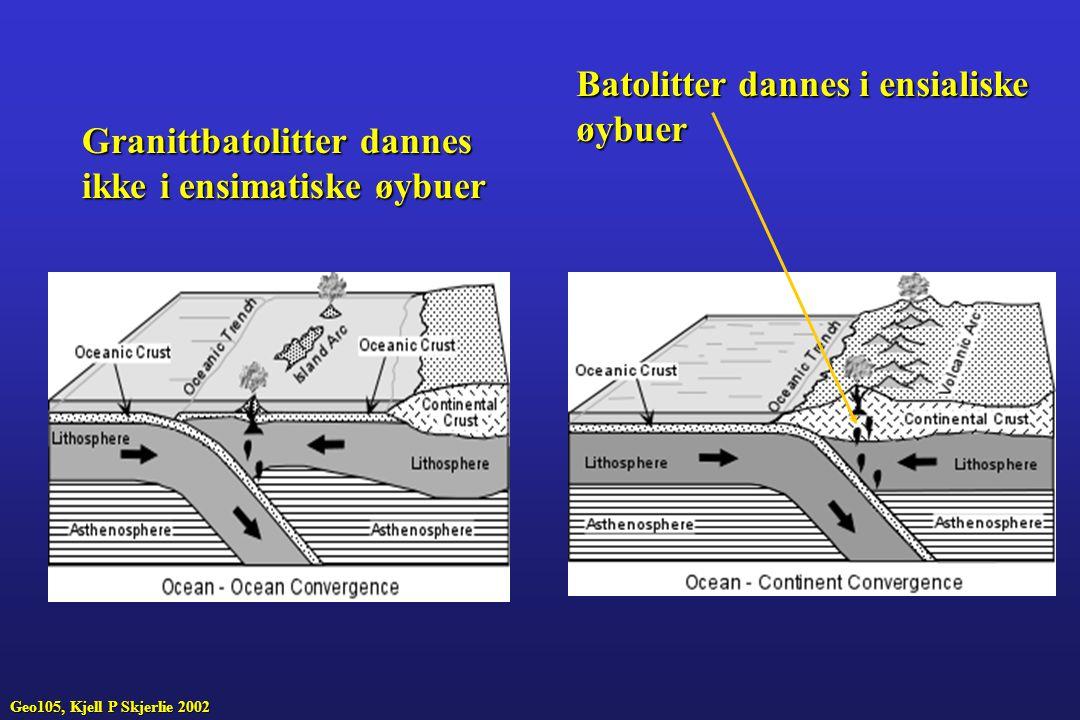 Batolitter dannes i ensialiske øybuer Granittbatolitter dannes