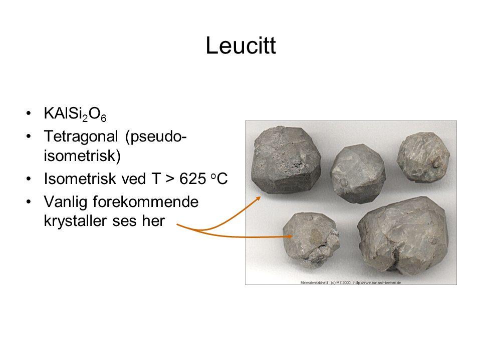 Leucitt KAlSi2O6 Tetragonal (pseudo-isometrisk)