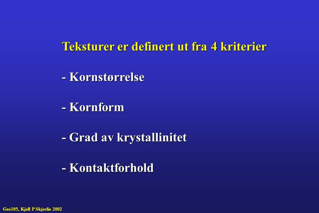 Teksturer er definert ut fra 4 kriterier - Kornstørrelse - Kornform