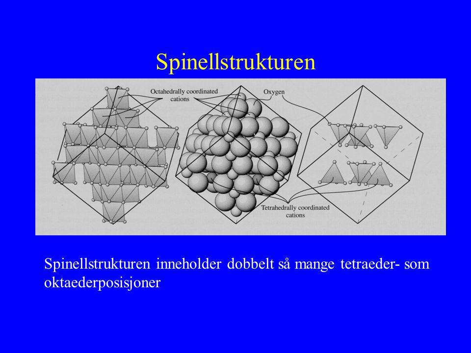 Spinellstrukturen Spinellstrukturen inneholder dobbelt så mange tetraeder- som oktaederposisjoner