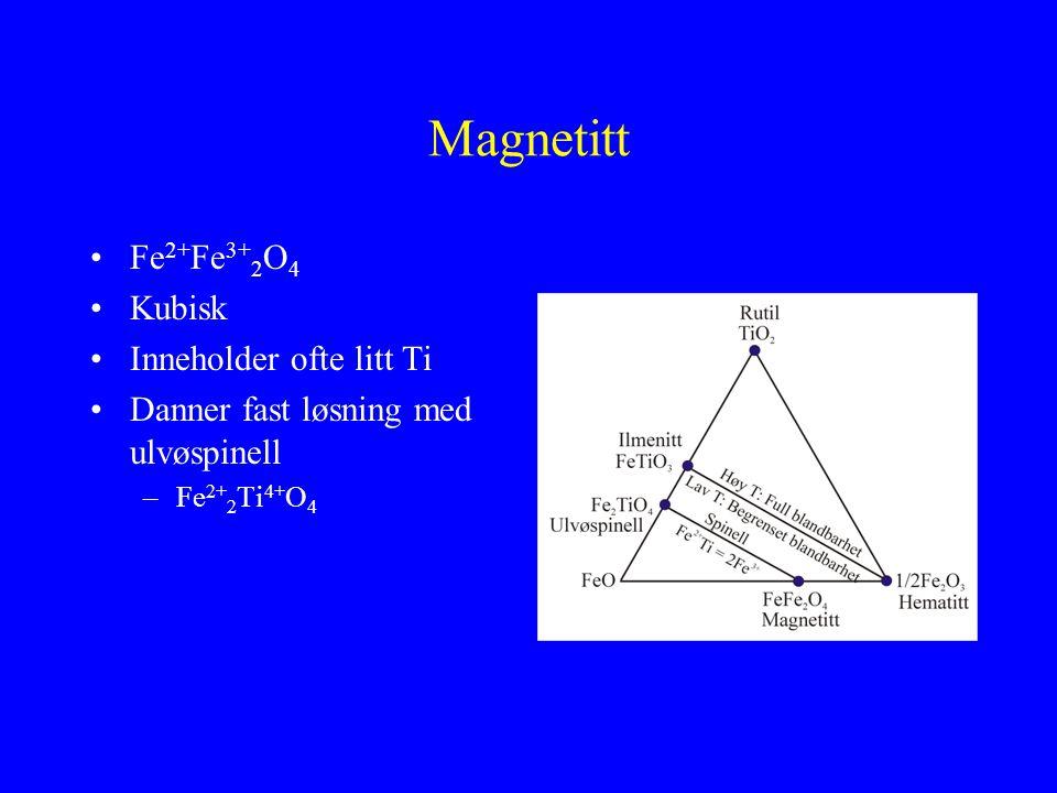 Magnetitt Fe2+Fe3+2O4 Kubisk Inneholder ofte litt Ti