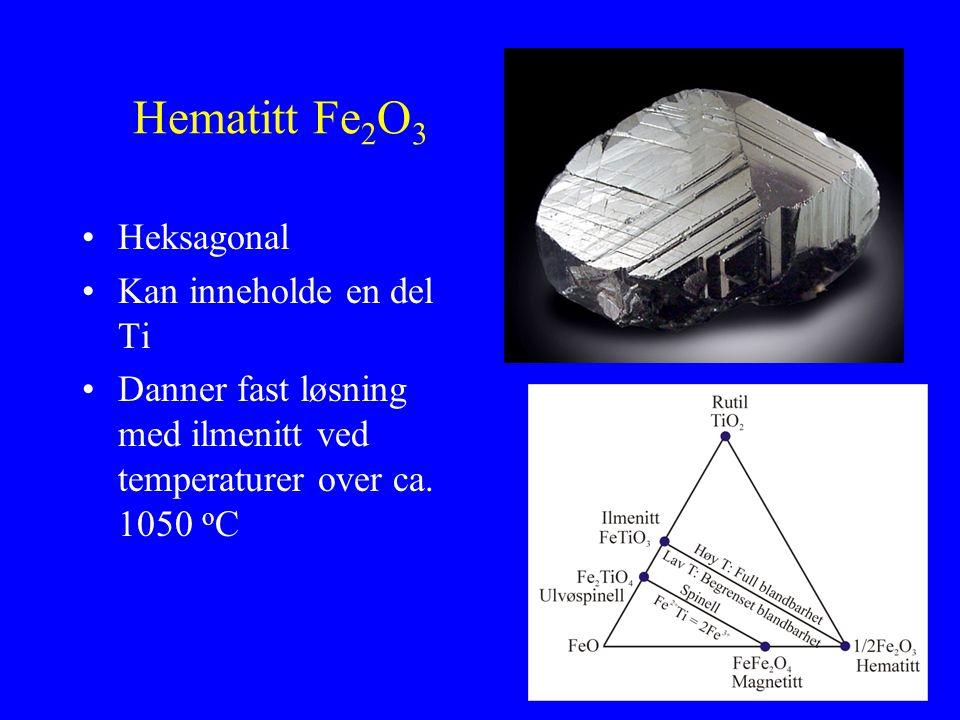 Hematitt Fe2O3 Heksagonal Kan inneholde en del Ti