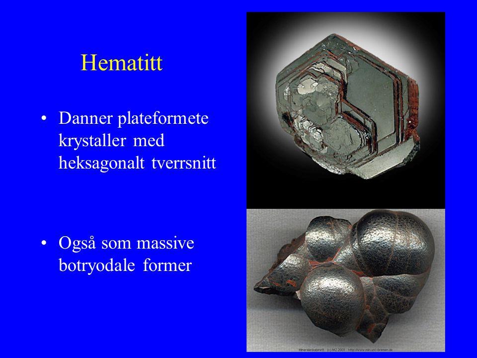 Hematitt Danner plateformete krystaller med heksagonalt tverrsnitt