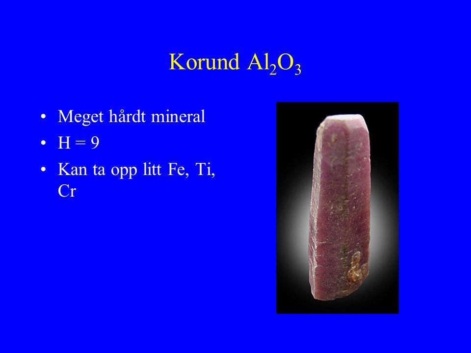 Korund Al2O3 Meget hårdt mineral H = 9 Kan ta opp litt Fe, Ti, Cr