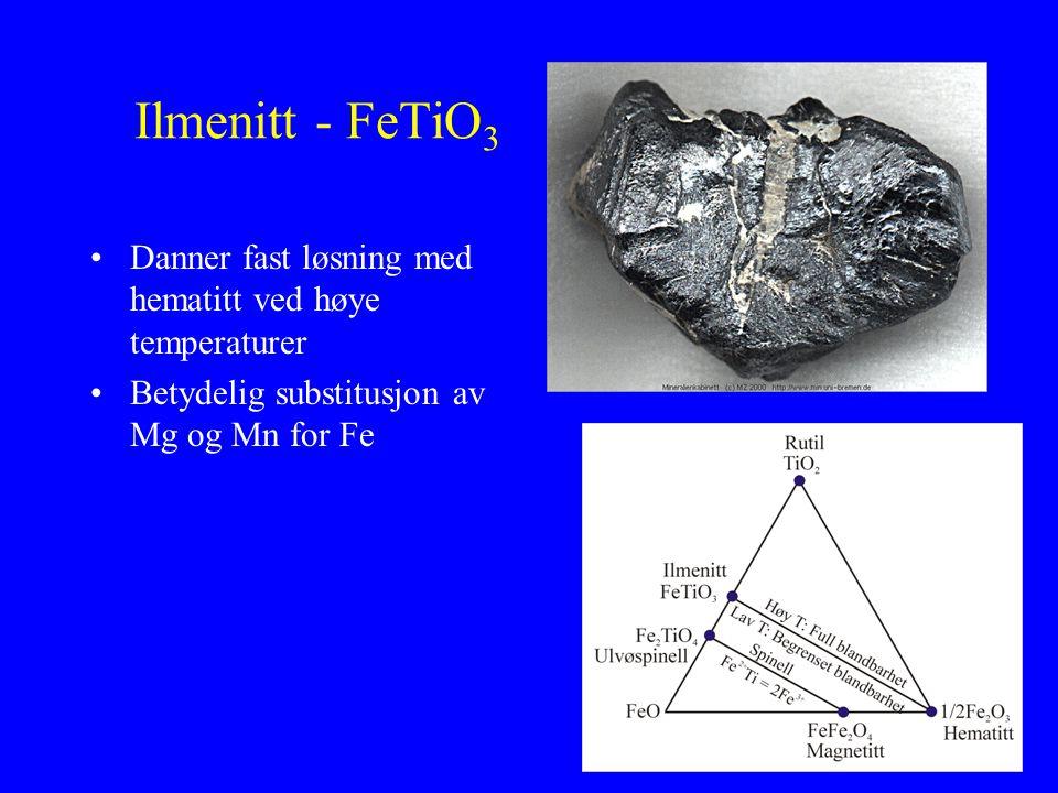 Ilmenitt - FeTiO3 Danner fast løsning med hematitt ved høye temperaturer.