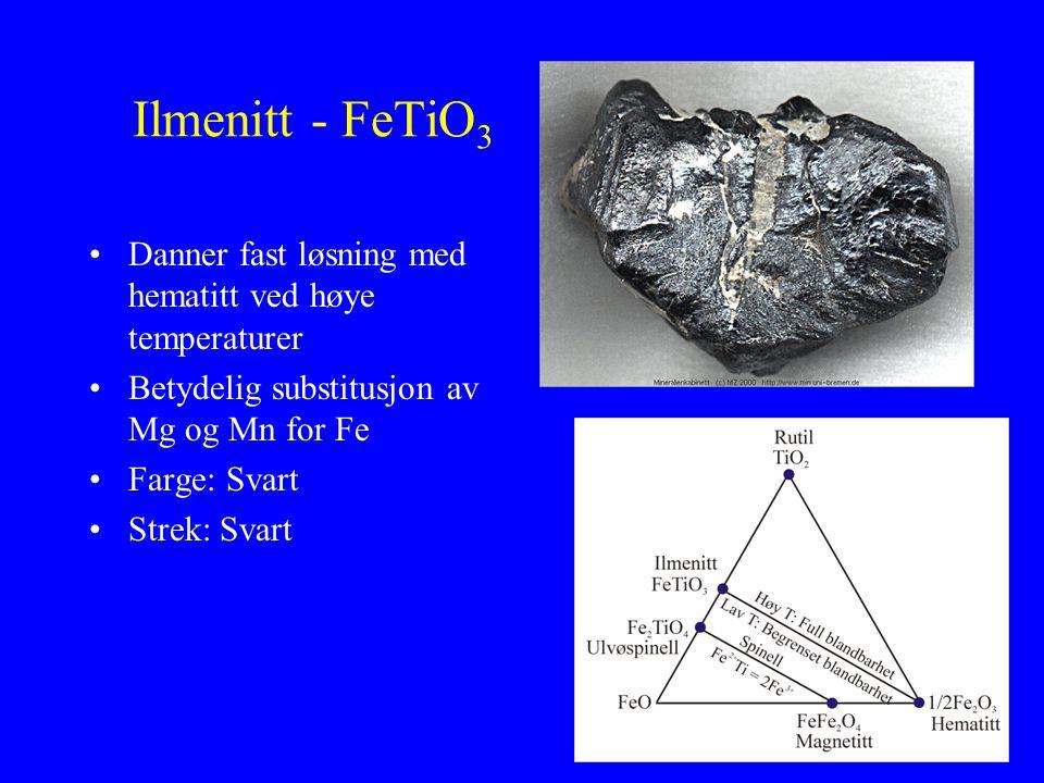 Ilmenitt - FeTiO3 Danner fast løsning med hematitt ved høye temperaturer. Betydelig substitusjon av Mg og Mn for Fe.