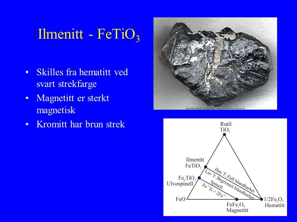 Ilmenitt - FeTiO3 Skilles fra hematitt ved svart strekfarge