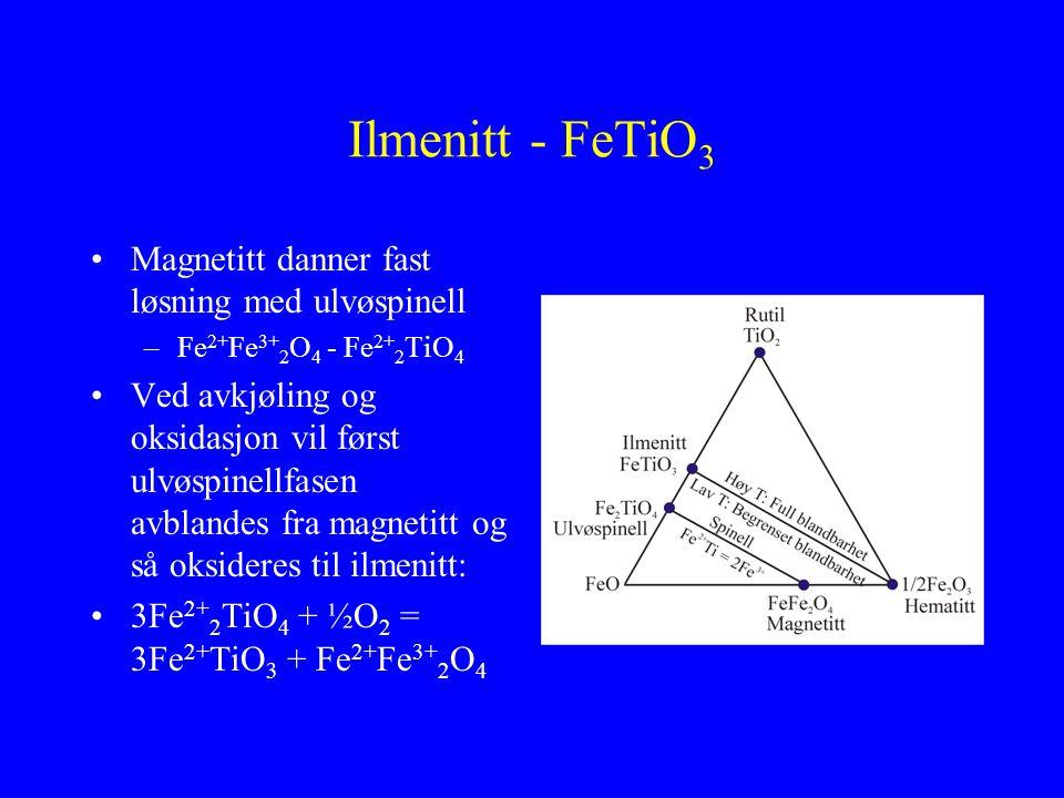 Ilmenitt - FeTiO3 Magnetitt danner fast løsning med ulvøspinell
