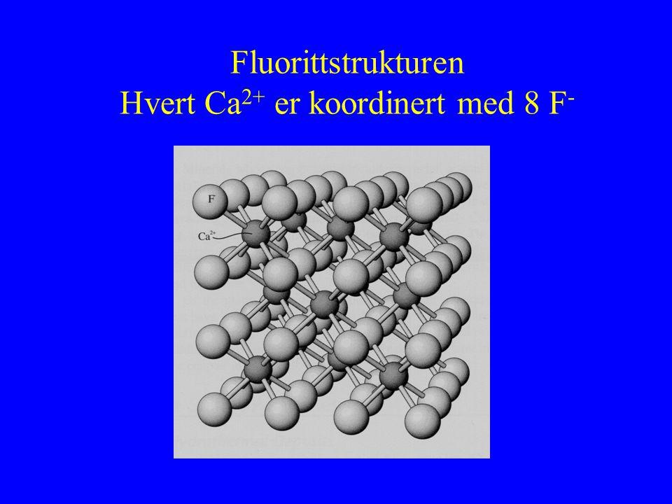 Fluorittstrukturen Hvert Ca2+ er koordinert med 8 F-