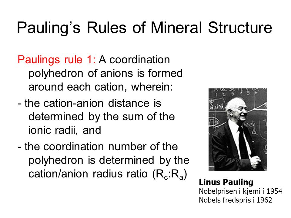 Pauling's Rules of Mineral Structure