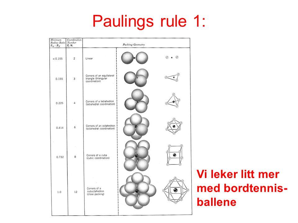 Paulings rule 1: Vi leker litt mer med bordtennis-ballene