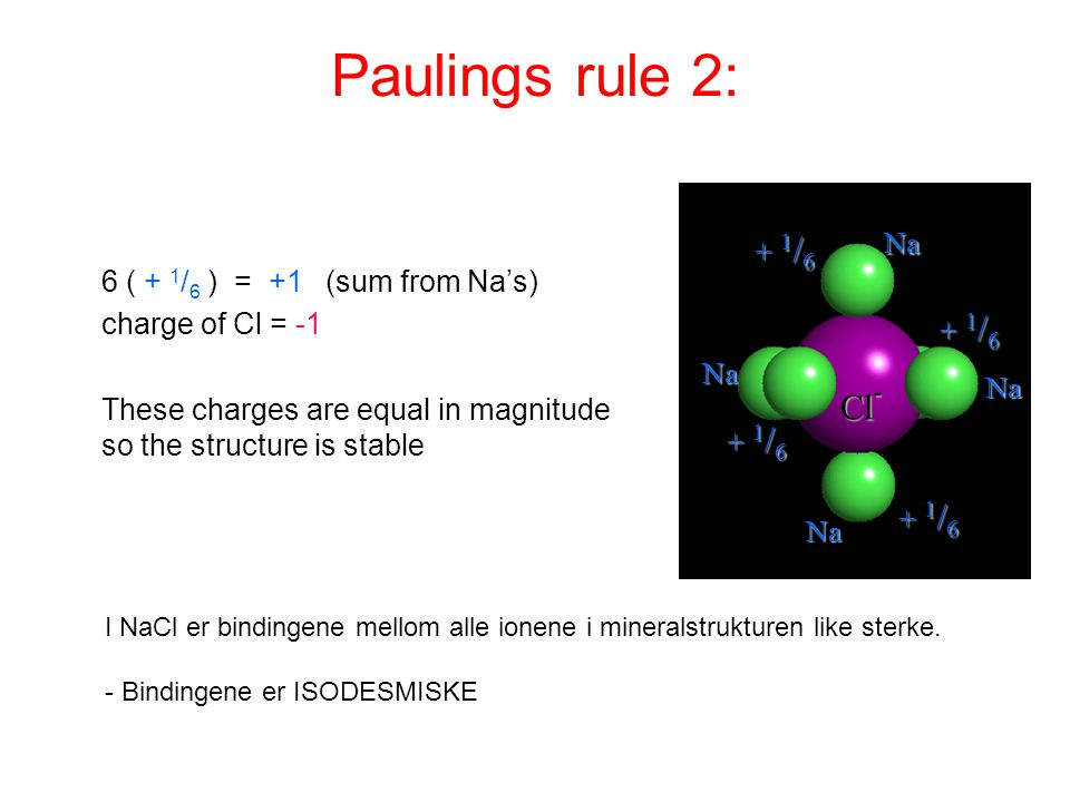 Paulings rule 2: Cl- + 1/6 Na 6 ( + 1/6 ) = +1 (sum from Na's)