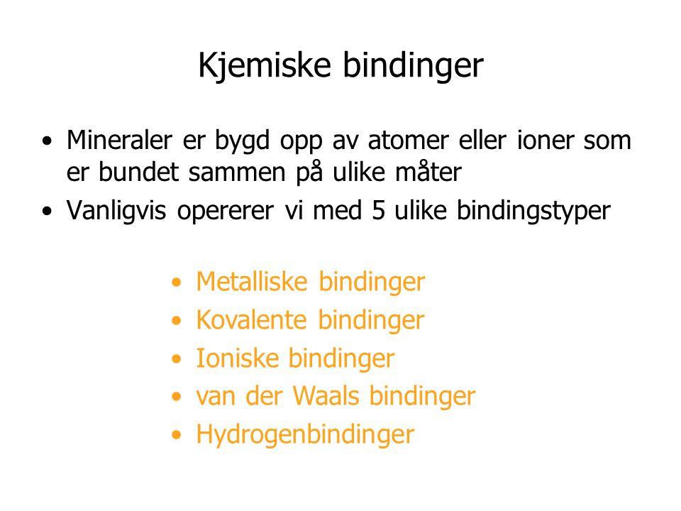 Kjemiske bindinger Mineraler er bygd opp av atomer eller ioner som er bundet sammen på ulike måter.