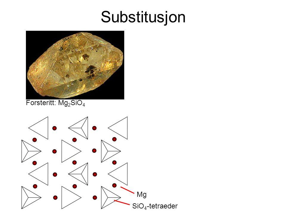 Substitusjon Forsteritt: Mg2SiO4 Mg SiO4-tetraeder