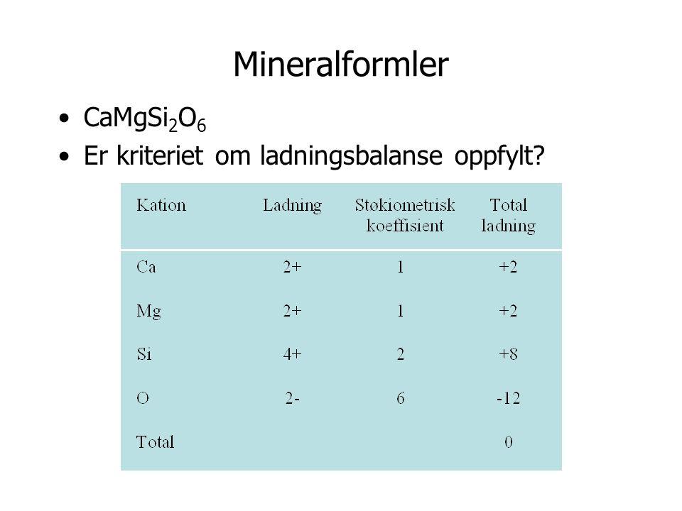 Mineralformler CaMgSi2O6 Er kriteriet om ladningsbalanse oppfylt