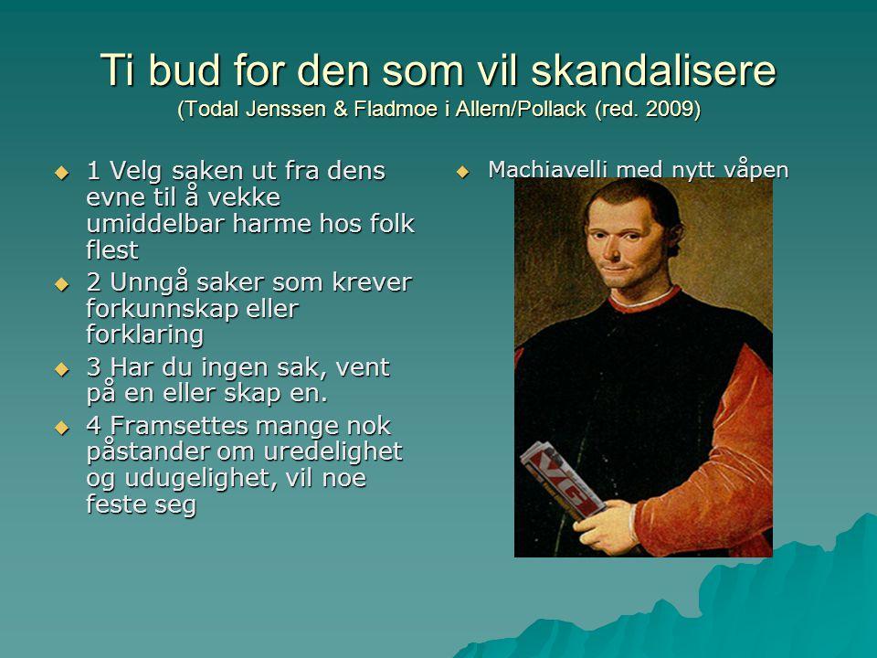 Ti bud for den som vil skandalisere (Todal Jenssen & Fladmoe i Allern/Pollack (red. 2009)