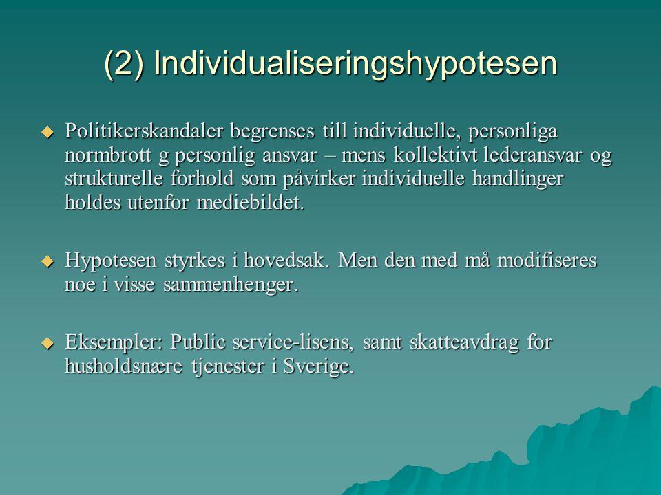 (2) Individualiseringshypotesen