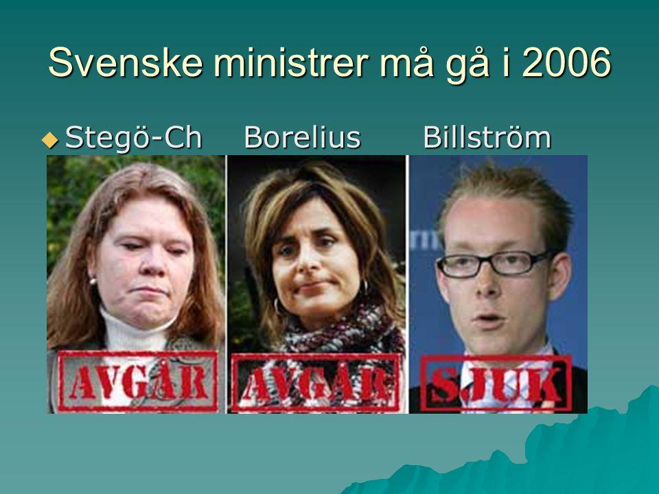 Svenske ministrer må gå i 2006