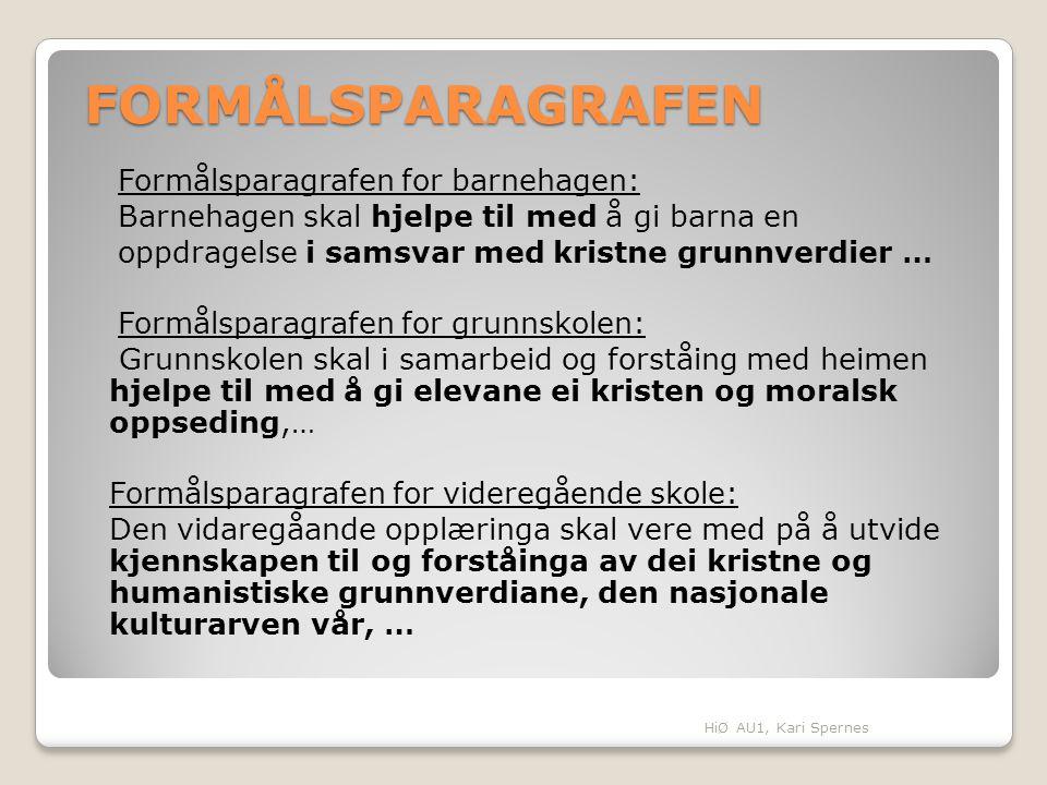 FORMÅLSPARAGRAFEN Formålsparagrafen for barnehagen: