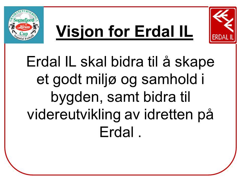 Visjon for Erdal IL Erdal IL skal bidra til å skape et godt miljø og samhold i bygden, samt bidra til videreutvikling av idretten på Erdal .