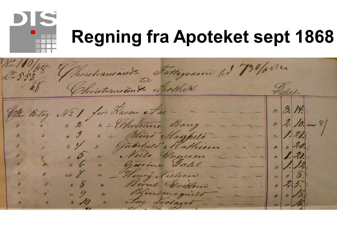 Regning fra Apoteket sept 1868