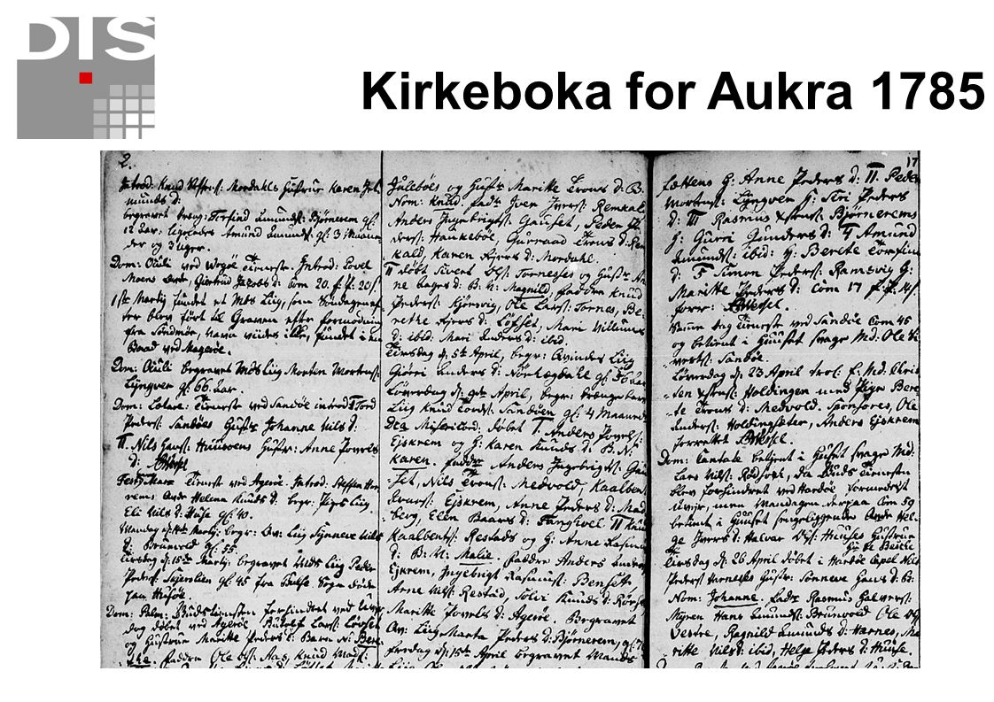 Kirkeboka for Aukra 1785