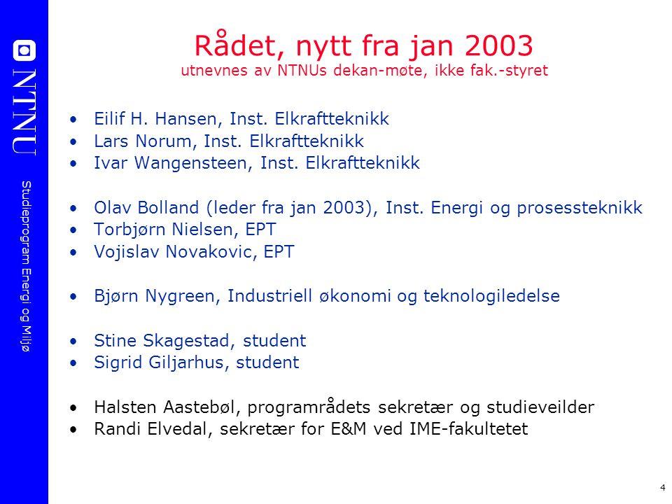 Rådet, nytt fra jan 2003 utnevnes av NTNUs dekan-møte, ikke fak
