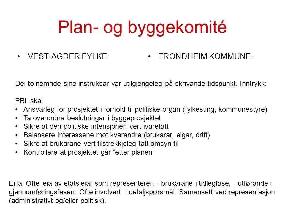 Plan- og byggekomité VEST-AGDER FYLKE: TRONDHEIM KOMMUNE: