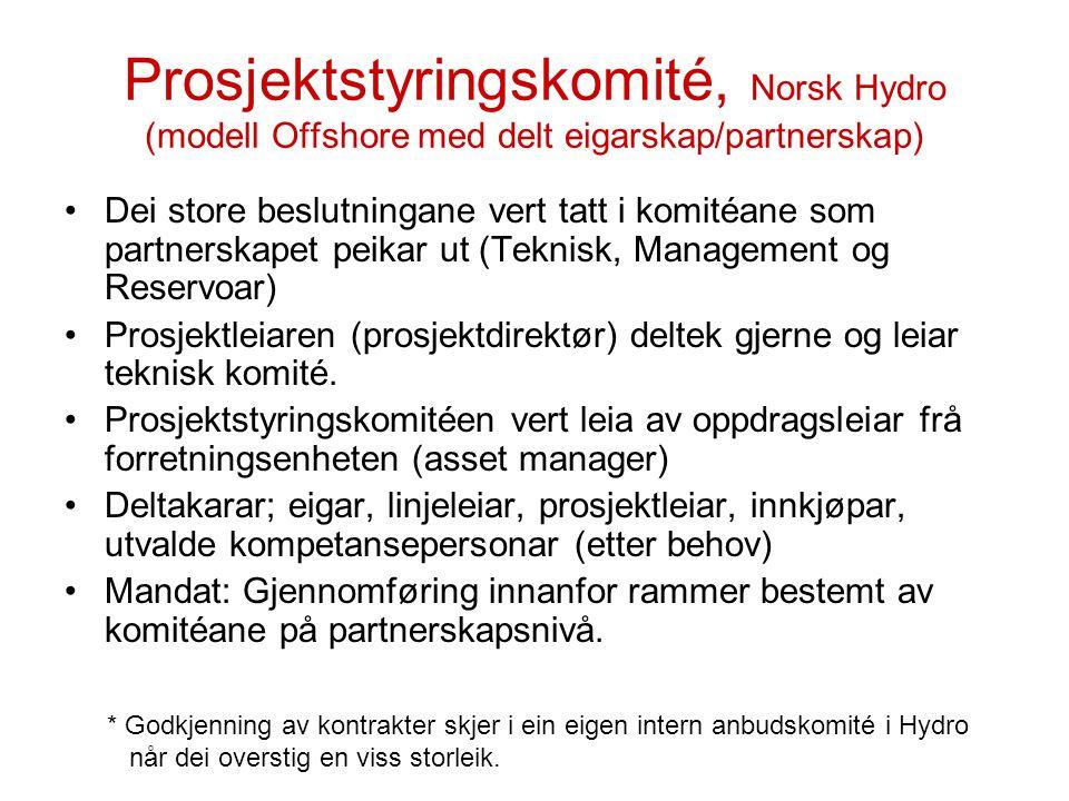 Prosjektstyringskomité, Norsk Hydro (modell Offshore med delt eigarskap/partnerskap)