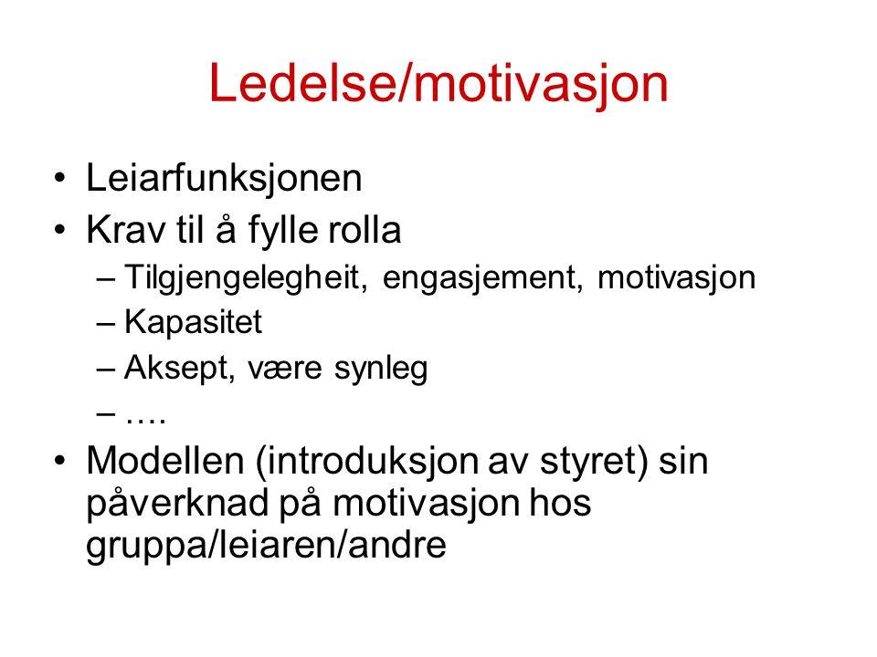 Ledelse/motivasjon Leiarfunksjonen Krav til å fylle rolla