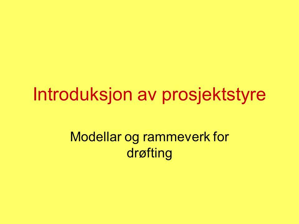 Introduksjon av prosjektstyre