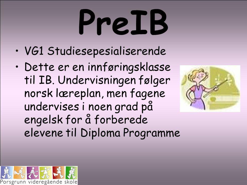 PreIB VG1 Studiesepesialiserende