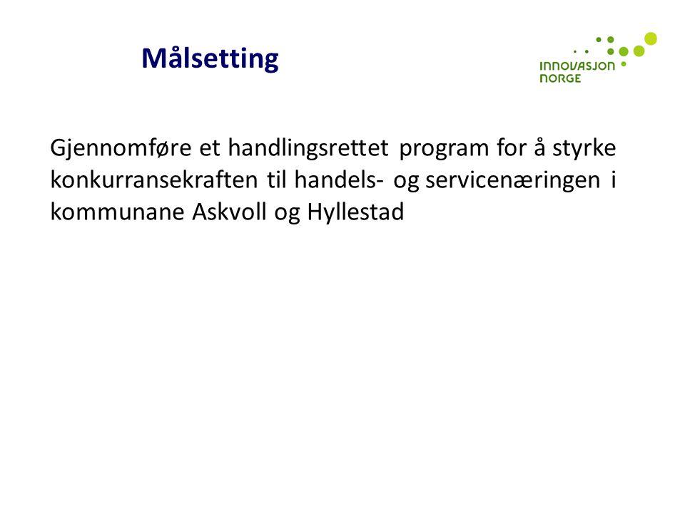Målsetting Gjennomføre et handlingsrettet program for å styrke konkurransekraften til handels- og servicenæringen i kommunane Askvoll og Hyllestad.