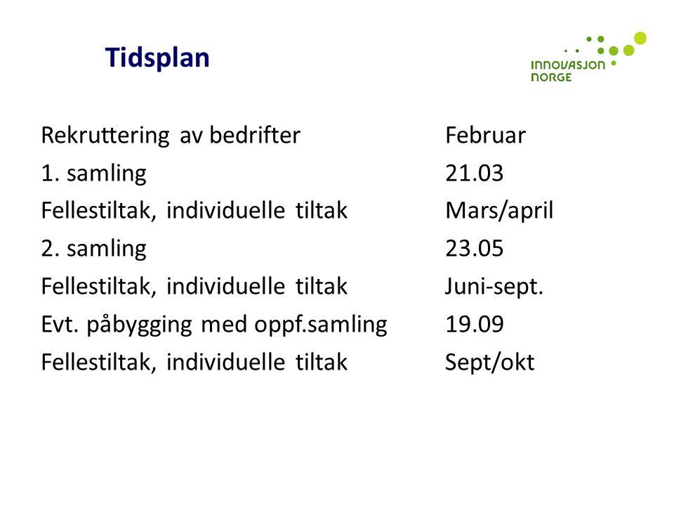 Tidsplan Rekruttering av bedrifter Februar 1. samling 21.03