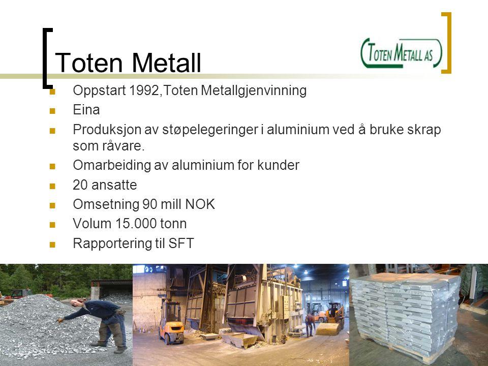 Toten Metall Oppstart 1992,Toten Metallgjenvinning Eina