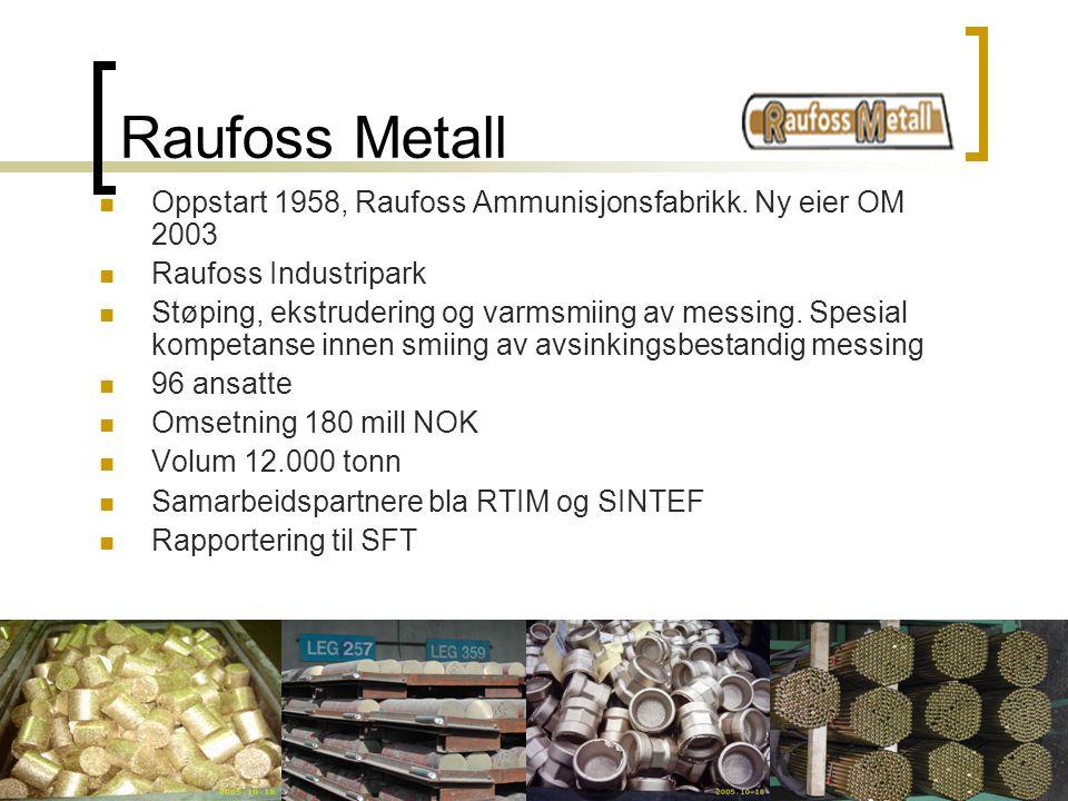Raufoss Metall Oppstart 1958, Raufoss Ammunisjonsfabrikk. Ny eier OM 2003. Raufoss Industripark.