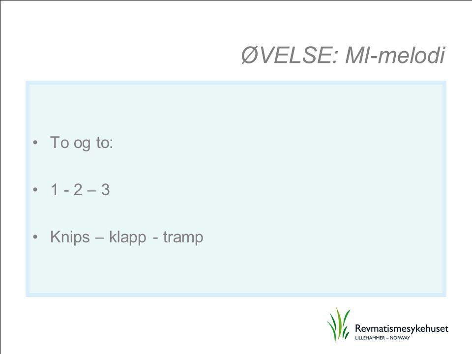 ØVELSE: MI-melodi To og to: 1 - 2 – 3 Knips – klapp - tramp