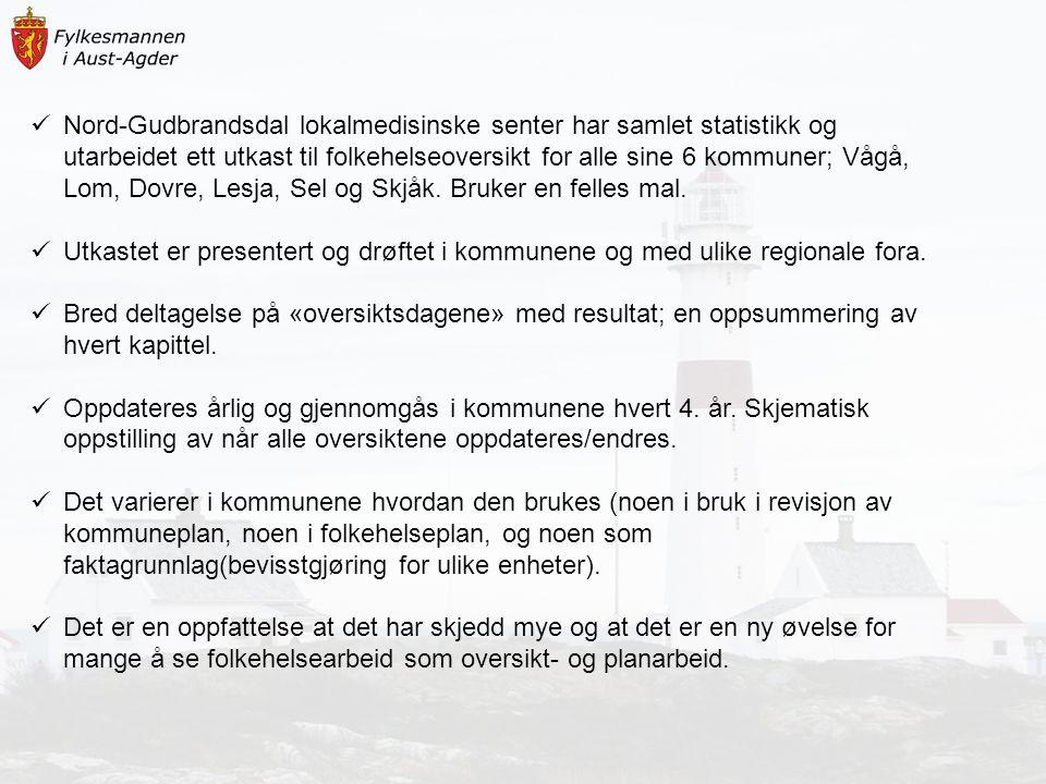 Nord-Gudbrandsdal lokalmedisinske senter har samlet statistikk og utarbeidet ett utkast til folkehelseoversikt for alle sine 6 kommuner; Vågå, Lom, Dovre, Lesja, Sel og Skjåk. Bruker en felles mal.