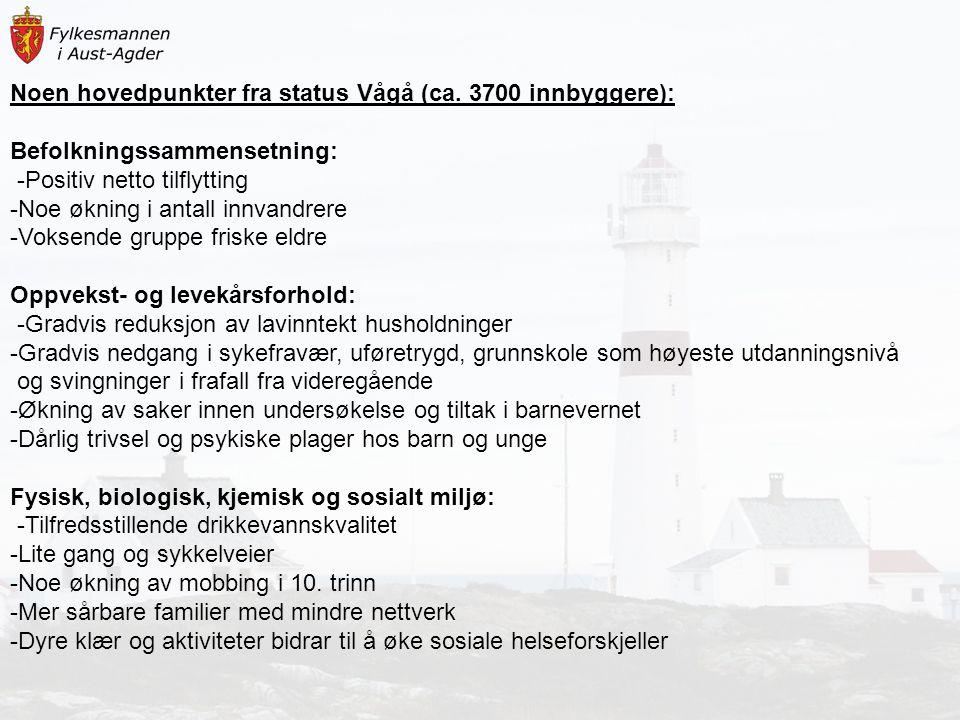 Noen hovedpunkter fra status Vågå (ca. 3700 innbyggere):