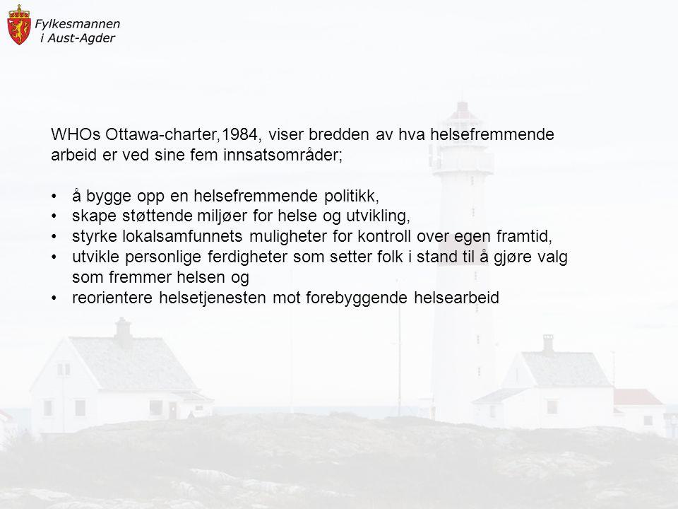 WHOs Ottawa-charter,1984, viser bredden av hva helsefremmende arbeid er ved sine fem innsatsområder;