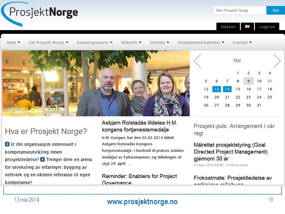 13 mai 2014 www.prosjektnorge.no