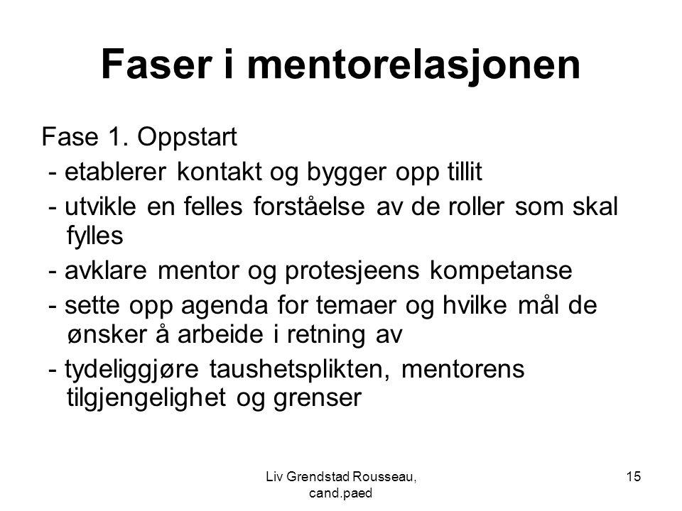 Faser i mentorelasjonen