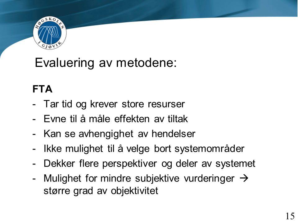 Evaluering av metodene: